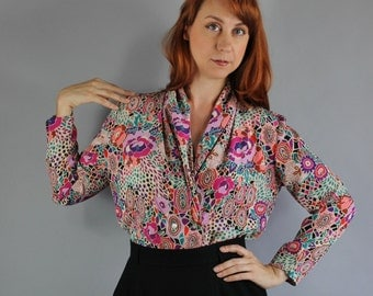Vintage 80s Women's Purple Teal Floral Boho Style Wear to Work Spring Office Blouse