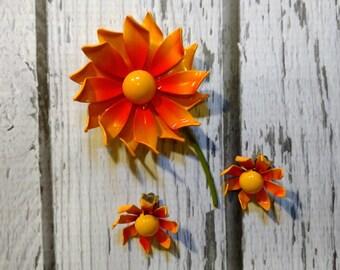 Vintage Flower Pin and Earring Set - Orange Flower Pin - Yellow Flower Pin - Orange Jewelry Set - Summer Flowers - Mod 1960s Jewelry Set