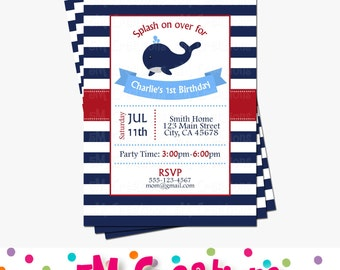 Whale Birthday Party - Whale Baby Shower Invitation - Nautical Baby Shower Invitations - Nautical Invitations - Digital Printable Invite