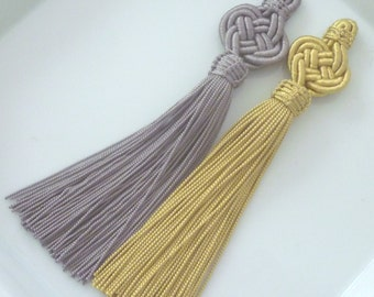 Moroccan plaited art silk tassels, golden and taupe