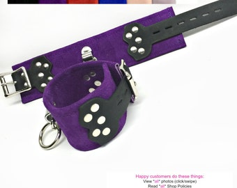 BDSM Bondage Cuffs Wrist or Ankle Ornate LOCKING Restraints Suede or Leather and with Black Leather Straps
