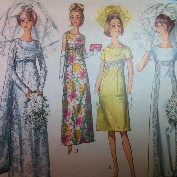 Simplicity 6352 vintage 1960 39 s empire waist wedding for Wedding dress large bust small waist