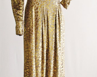 "1970s Pauline Trigere Gold Metallic Leopard Maxi Dress 32"" Waist"