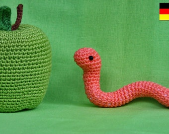 Ammigurumi - WORMY APPLE - crochet pattern PDF