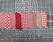 1900-1930 Quilt FABRIC Peices- UNUSED RED or Turkey Red Vintage - Tiny Calico- Quilting Pieces - Fan/Pinwheel - 88 Pieces