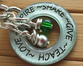 Teacher gift pendant...Love, Inspire, Share, Give, Teach..13/16 silver washer word quote necklace teacher appreciation pendant with chain
