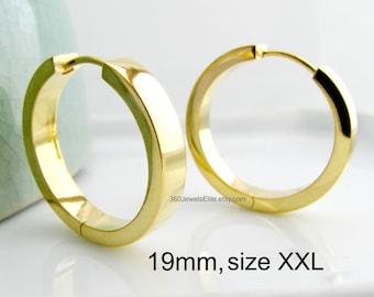 Men's earrings, mega gold hoop earrings, men's hoop earrings in XXL, large gold hoop earrings for men, 24K gold plated hoop earrings, E194SY