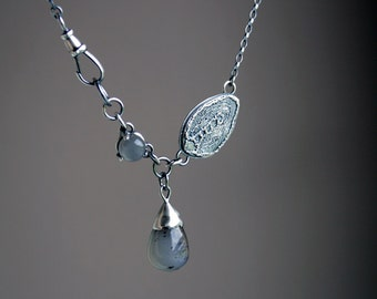 Grey moonstone, agate drop and sterling silver botanical necklace - READY TO SHIP