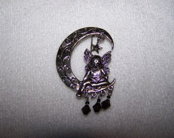 Silver Angel Sitting on the Moon with Dangles Brooch Pendant