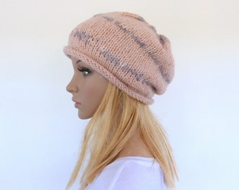 Pink Slouchy Hat Slouch beanie Hand knit hat Pink hand knitted slouch beanie