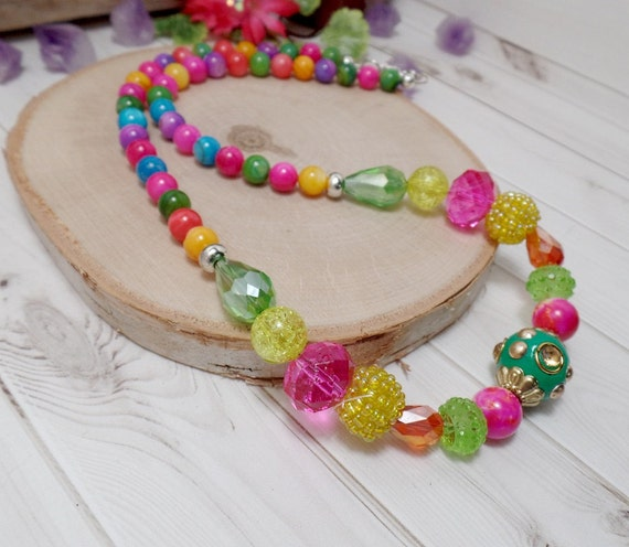 Colorful Bohemian Beaded Necklace - Rainbow Necklace - OOAK - Statement Necklace - Free US Shipping