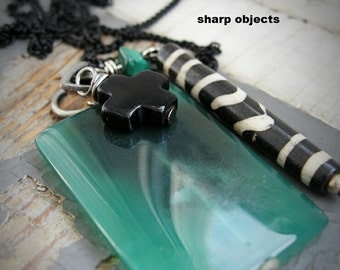 Jade - matte silver metalwork, polished green stone, malachite, black & white tribal Indian hairpipe charm, chain necklace