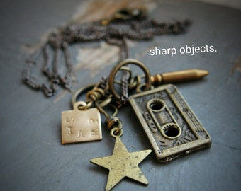 REWIND - miniature old skool cassette tape, stamped metalwork tag, star & bullet charm, gunmetal chain NECKLACE