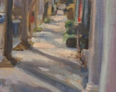 Charleston street, South Carolina, Cityscape, street scene, historical town, trees with shadows, gift idea, 5x7, original oil, sidewalk