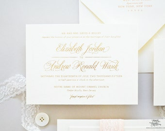 INVITATION SAMPLE The Ballerina Suite - Classic Gold Foil Wedding Invitation - Heirloom Wedding Invitations by Sincerely, Jackie