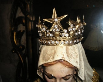 Fabulous Santo/Madonna Filigree Gold toned Jeweled metal adjustable French Crown/Tiara