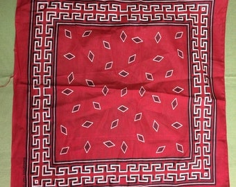 1950's deadstock abstract Native American Indian diamond darker red Bandana NOS 17x17.5 Guaranteed Fast Color all Cotton NWT Border #48