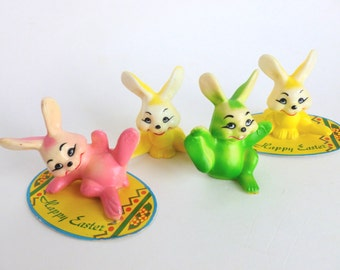 Plastic Easter Bunnies Lot in Pink, Green and Yellow Holiday Party Decorations Cake Toppers
