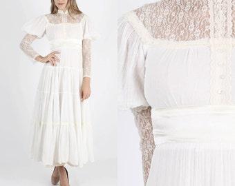 Gunne Sax Dress Prairie Dress Boho Dress Lace Dress Hippie Dress Lace Wedding Dress Jessica McClintock Dress 70s Dress White Dress S