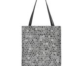 Light gray tote bag, modern tote bag, faux mosaic, large tote bag, gift for mom, gift for her, shoulder bag, washable tote, bridesmaid gift
