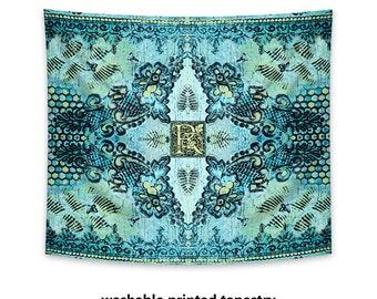 Printed Wall Tapestry, bohemian decor, monogram wall art, boho tapestry, hippie tapestry, aqua tapestry, bohemian art, wall hanging