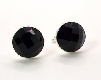 Noir Nights Cufflinks – Black Onyx Cufflinks – Faceted Black Onyx Cufflinks – Black Cufflinks - Onyx Cufflinks