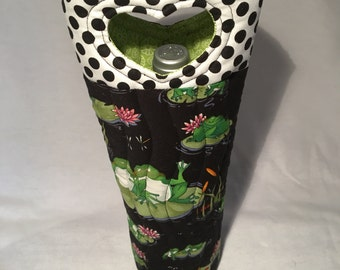 Frogs Lillipads Wine Bags Hostess Gift BYOB Wine Gift Under 25
