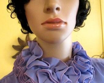 Vintage Lavender Skirt Suit.  Ruffle 2 Piece Suit.  Pleated 2 Piece Suit.  Ruffle Collar Suit.