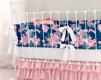 Pink and Navy Baby Girl Bedding, custom crib bedding,  navy and pink floral baby bedding,  Navy white pink modern nursery  by lottiedababy