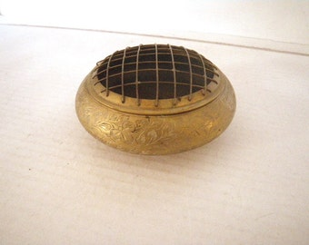 India Brass Flower Bowl - Fitted Mesh Frog for Floral Arrangement -Small