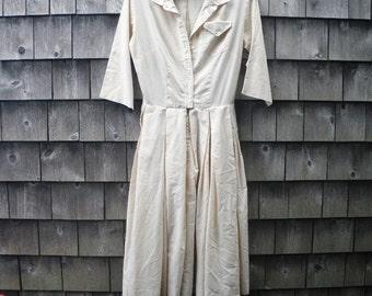 1950s Palest Ecru Shirt Dress - Small