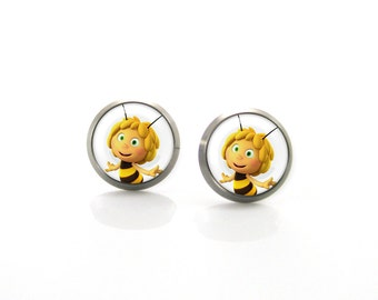 Maya the Bee Titanium Post Earrings | Hypoallergenic Earrings for Sensitive Ears | Cute Baby Girls Kids Children Tiny Disney earrings