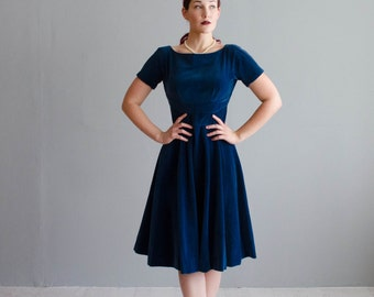 Vintage 1960s Party Dress - Blue Velvet 60s Dress - Midnight Strike Dress