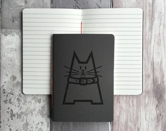 Cat journal - Small lined handmade notebook featuring Dave the cat - dark grey hand-printed, hand-stitched A6 cat notebook