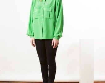 ON SALE Long Sleeve Silky Blouse / Retro Apple Green Shirt / Vintage Pocket Blouse