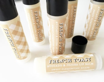 French Toast Lip Balm, Moisturizing Avocado and Jojoba Oil Lip Balm, French Toast, Vanilla, Cinnamon, Sugar, Jojoba Oil, Avocado Oil
