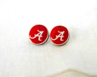 12mm Red Letter A Button Earrings