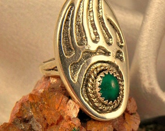 Large Malachite Bear Claw Ring