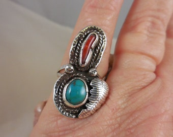 Native American Turquoise Coral Sterling Silver Ring