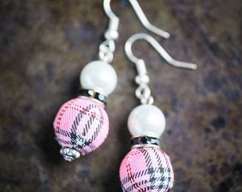 Rose Tartan, Black Rondelle and White Pearl Earrings