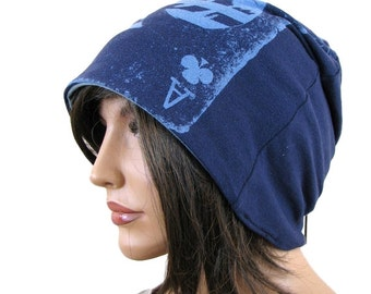 BLUE BEANIE HAT - Ace of Clubs - Slouch Hat - Hipster Beanie - Womens Beanie - Mens Slouchy Beanie - Baggy Beanie - Blue Hat - Slouch Beanie