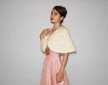 1950s Vintage Ivory Angora Capelet Wedding Stole Bridal Cardigan Sweater  -  Vintage  50s Capelet   - WO0663