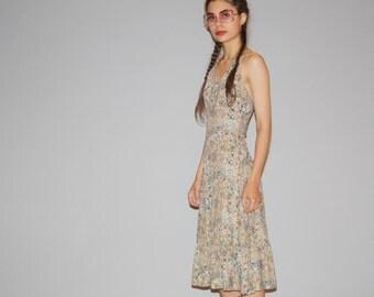 Vintage 1970s Boho Floral Halter Hippie Festival Backless Summer Sun Dress  - Vintage Sun Dresses  - 70s Floral Dresses - WD0903