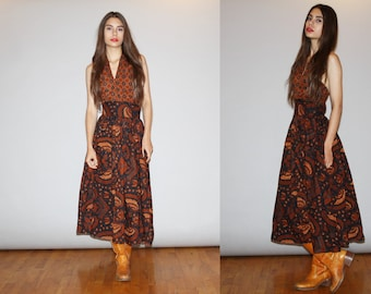 Vintage 1970s Designer Saks Fifth Avenue Batik Paisley Cotton Halter Backless Dress - Mod Boho 70s Dress  - 1970s Hippie Dresses   - WD0907