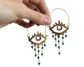 Beaded eye chandelier hoops, eyeball jewelry, Elke eye earrings