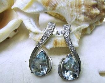 14k Aquamarine and Diamond Drop Earrings Custom Made 3.5ctw 4.41g