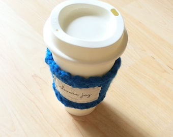 Crocheted knitted coffee cup sleeve cozy in Royal Blue- choose joy - coffee lovers gift