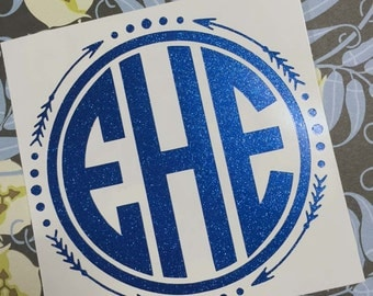 GLOSSY OR GLITTER - Circle & Arrow Monogram Decal (Car/Camper/Outdoor/Water Bottle Decal!)
