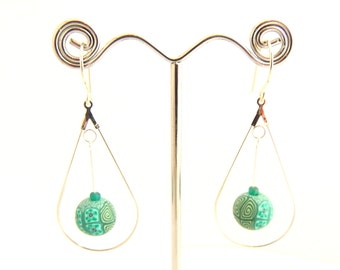 Sea Green Beaded Teardrop Chandelier Earrings, Sterling Silver, Polymer Clay, Supremily Jewellery