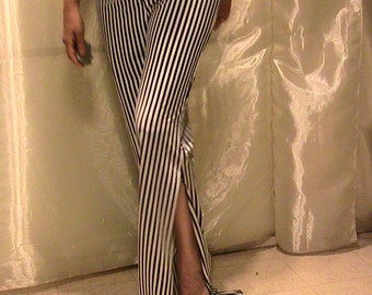 Striped dance pants side splits, black and white vertical stripes for belly dance, ats, hoop dance, studio and festival wear